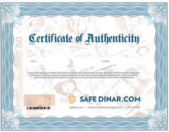 Safe Dinar Certificate of Authenticity